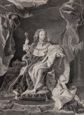 Prints, HYACINTHE RIGAUD (French, 1659-1743). Louis XV, 1723.Engraving. 26-1/2 x 19-1/4 inches (67.3 x 48.9 cm). Engraved byPi...