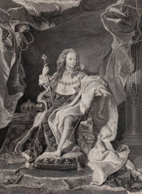 HYACINTHE RIGAUD (French, 1659-1743) Louis XV, 1723 Engraving 26-1/2 x 19-1/4 inches (67.3 x 48.9