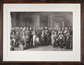 Prints, THE WATERLOO HEROES ASSEMBLED AT APSLEY HOUSE, ON THE MEMORABLE18TH OF JUNE . 18th century. Engraving. 26-1/2 x 38-1/2...