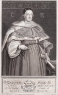 Prints, SR. MATTHEW HALE, LORD CHIEF JUSTICE OF HIS MAJESTY'S COURT OFKING'S BENCH . Michael Wright, 1735. 12-1/4 x 7-3...