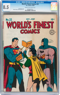 World's Finest Comics #22 (DC, 1946) CGC VF+ 8.5 Cream to off-white pages
