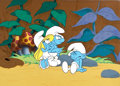 Animation Art:Production Cel, The Smurfs Production Cel with Background Animation Art(Hanna-Barbera, 1983)....