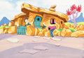 Animation Art:Production Drawing, The Flintstones House Stock Key Background Animation Art(Hanna-Barbera, 1972)....