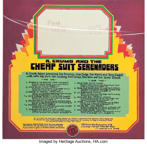 R  Crumb and the Cheap Suit Serenaders Album Back Cover Color | Lot