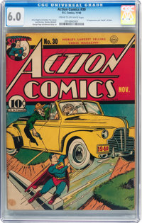 Action Comics #30 (DC, 1940) CGC FN 6.0 Cream to off-white pages