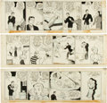 Original Comic Art:Comic Strip Art, Zack Mosley Smilin' Jack Daily Comic Strip Original ArtGroup (News Syndicate Co. Inc., 1940). ... (Total: 3 Original Art)