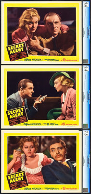 "Secret Agent (Gaumont, 1936). CGC Graded Lobby Cards (3) (11"" X 14""). ... (Total: 3 Items)"