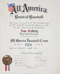 Autographs:Others, 1931 Lou Gehrig All-America Baseball Team Certificate Signed byBabe Ruth....