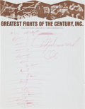 "Boxing Collectibles:Memorabilia, 1971 Muhammad Ali Handwritten & Signed ""Fight of theCentury"" Scoresheet...."