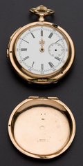 Timepieces:Pocket (pre 1900) , Swiss 14k Gold Hunters Case Minute Repeater With Chronograph For Restoration. ...
