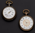 Timepieces:Pocket (post 1900), Two Swiss Sterling Pocket Watches Runners. ... (Total: 2 Items)