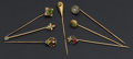 Estate Jewelry:Stick Pins and Hat Pins, Seven Early Gold Stick Pins. ... (Total: 7 Items)