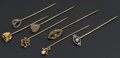 Estate Jewelry:Stick Pins and Hat Pins, Seven Gold & Pearl Stick Pins. ... (Total: 7 Item)