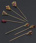 Estate Jewelry:Stick Pins and Hat Pins, Seven Gold Stick Pins. ... (Total: 7 Items)