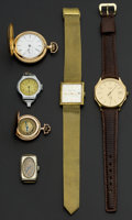 Timepieces:Other , Four Wristwatches & Two Gold Filled Pocket Watches. ... (Total:6 Items)