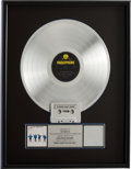 Music Memorabilia:Awards, Beatles Help! RIAA Platinum Album Award....