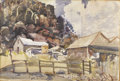 Texas:Early Texas Art - Regionalists, JULIUS WOELTZ (1911-1956). Merriwether Ranch House, mid1930s. Watercolor on paper. 15 x 22 inches (38.1 x 55.9 cm). Uns...