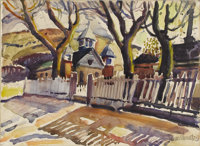 JULIUS WOELTZ (1911-1956) Courtyard of the Catholic Church in Alpine, TX, mid 1930s Watercolor on pa
