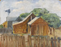 Texas:Early Texas Art - Regionalists, XAVIER GONZALEZ (1898-1993). Untitled Ranch House andWindmill, mid 1930s. Oil on masonite. 10-1/2 x 14 inches(26.7 x 3...