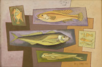 BROR UTTER (1913-1993) Seven Fish, 1958 Oil on linen 12 x 18 inches (30.5 x 45.7 cm) Signed an