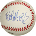 Autographs:Baseballs, Bob Hope Single Signed Baseball. Clean white ONL (White) baseballthat we offer here wears a fantastic side panel signature ...