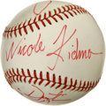"Autographs:Baseballs, 1991 Baseball Signed by the Cast of ""Billy Bathgate"". Signed in1991 on the set of the film Billy Bathgate, this Rawlings b..."