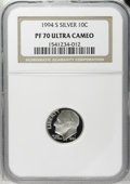 Proof Roosevelt Dimes: , 1994-S 10C Silver PR70 Deep Cameo NGC. NGC Census: (90/0). PCGSPopulation (29/0). Numismedia Wsl. Price: $100. (#95278)...
