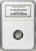Proof Roosevelt Dimes: , 1998-S 10C Silver PR70 Deep Cameo NGC. NGC Census: (228/0). PCGSPopulation (47/0). Numismedia Wsl. Price: $80. (#95287)...