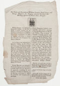 Prints, THE TRIALS AND EXECUTION OF WILLIAM GREGORY, JOSEPH BOYCE, ANDGEORGE MAYCOCK. 19th century. 14 x 9-1/2 inches (...