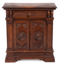 Furniture : Continental, AN ITALIAN RENAISSANCE STYLE WALNUT CREDENZA . 19th century .31-1/4 inches high x 33-1/2 inches wide x 13-1/2 inches deep (...