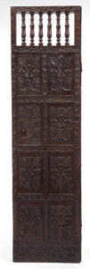 Decorative Arts, Continental:Other , A PERUVIAN CARVED WOOD DOOR . 18th century. 89 inches high x 24inches wide (226.1 x 61.0 cm). Elton Hyder III Collection ...