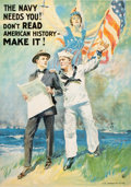 "Prints, JAMES MONTGOMERY FLAGG (1877-1960). ""The Navy Needs You! Don'tRead American History, Make It"". Color lithograph. 41-1/2..."
