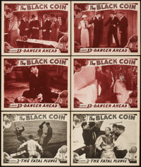 "The Black Coin (Stage and Screen Productions, 1936). Lobby Cards (6) (11"" X 14"") Chapter 3 -- 'The Fatal Plung..."