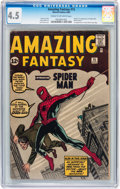 Silver Age (1956-1969):Superhero, Amazing Fantasy #15 (Marvel, 1962) CGC VG+ 4.5 Cream to off-whitepages....