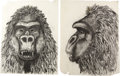 "Movie/TV Memorabilia:Autographs and Signed Items, Two Original Concept Drawings by Mentor Huebner from ""KingKong.""..."