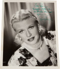 Movie/TV Memorabilia:Autographs and Signed Items, A Ginger Rogers Signed Black and White Photograph, Circa 1950....
