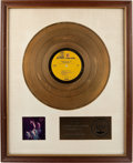 "Music Memorabilia:Awards, A Jimi Hendrix-Related Billy Cox RIAA Gold Record Sales Award for""Hendrix in the West,"" Circa 1972...."