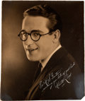 Movie/TV Memorabilia:Autographs and Signed Items, A Harold Lloyd Signed Black and White Photograph, Circa 1923....