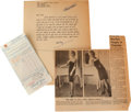 Movie/TV Memorabilia:Autographs and Signed Items, A Marilyn Monroe Group of Documents, 1950s....