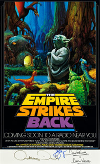 """The Empire Strikes Back NPR Broadcast (20th Century Fox, 1982). Autographed Poster (17"""" X 28"""")"""