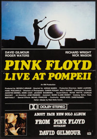 "Pink Floyd: Live at Pompeii/About Face (EMI, 1984). Promotional Poster (13.5"" X 19.5""). Rock and Roll"