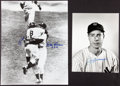 Baseball Collectibles:Photos, Don Larsen, Yogi Berra and Joe DiMaggio Signed OversizedPhotographs Lot of 2....