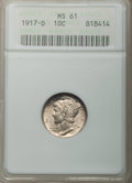 Mercury Dimes: , 1917-D 10C MS61 ANACS. NGC Census: (16/242). PCGS Population(3/193). Mintage: 9,402,000. Numismedia Wsl. Price for problem...