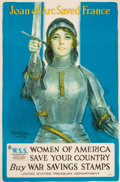 """Prints, HASKELL COFFIN (American, 20th Century). """"Joan of Arc SavedFrance, Women of America Save Your Country"""". Color lithograp..."""