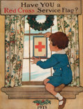 "Prints, JESSIE WILLCOX SMITH (1863-1935). ""Have You a Red Cross ServiceFlag?"". Color lithograph. 27 x 22-1/4 inches (68.6 x 56...."