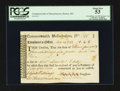 Colonial Notes:Massachusetts, Commonwealth of Massachusetts November 14, 1782 £5/4s/6d TreasuryTax Collector's Certificate PCGS About New 53.. ...