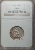 Seated Quarters: , 1877-S 25C AU58 NGC. NGC Census: (24/254). PCGS Population(28/266). Mintage: 8,996,000. Numismedia Wsl. Price for problem ...