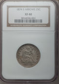 Seated Quarters: , 1874-S 25C Arrows XF40 NGC. NGC Census: (4/138). PCGS Population(8/202). Mintage: 392,000. Numismedia Wsl. Price for probl...