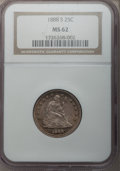 Seated Quarters: , 1888-S 25C MS62 NGC. NGC Census: (20/61). PCGS Population (11/48).Mintage: 1,216,000. Numismedia Wsl. Price for problem fr...