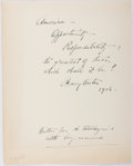 Autographs:Authors, Mary Austin (1868-1934, American Writer). Signed Excerpt. Verygood....